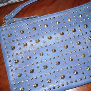 Handbags - Blue leather studded bag